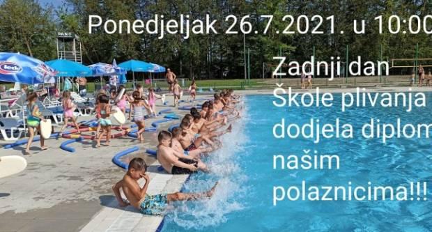 Danas, od 9,00 - 10,30 i 10,30 - 12,00 sati je pretposljednji dan obuke u Školi plivanja