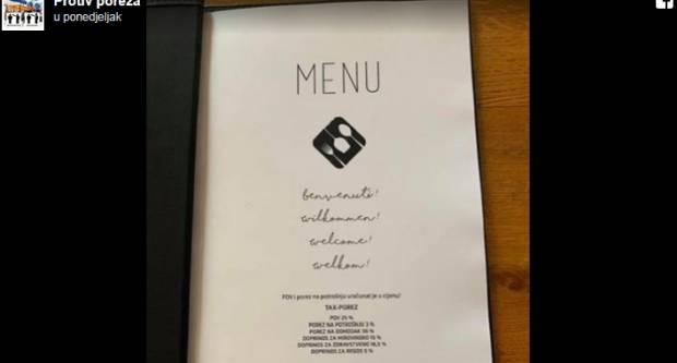 Do sada neviđeno: Hrvatski ugostitelj na meniju restorana objavio koje sve poreze plaća državi