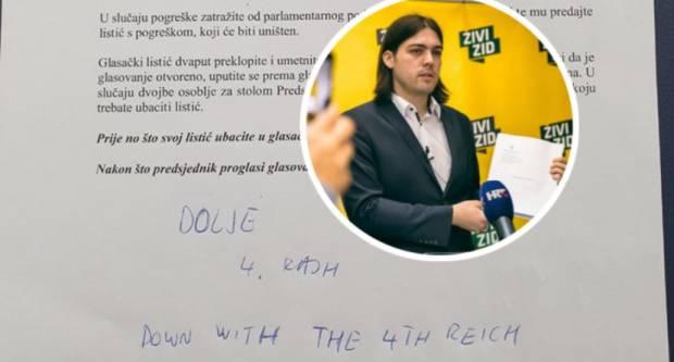 Zastupnik Živog zida Ivan Sinčić sramoti nas u EU parlamentu pišući na glasačke listiće ʺDolje 4. Reichʺ !?!?