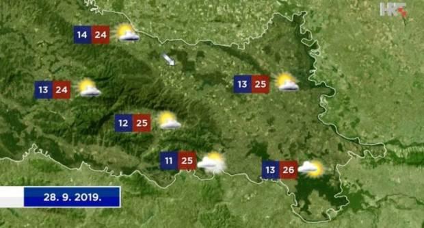 Vrijeme danas umjereno do pretežno oblačno, temperatura zraka između 22 i 27 °C