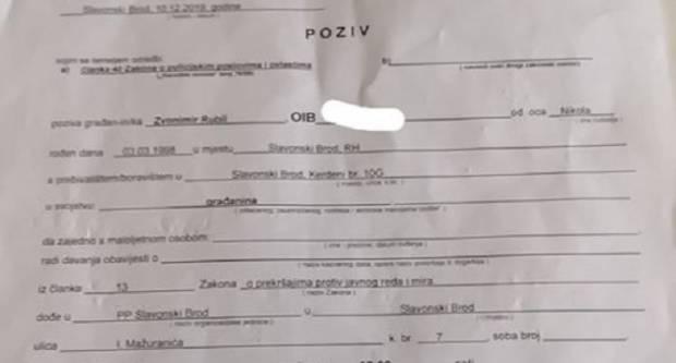 Zbog čega je Zvonimir Rubil pozvan na razgovor u policiju?
