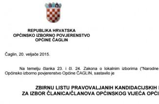 Kandidacijske liste za lokalne izbore u Čaglinu
