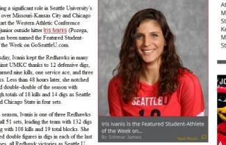 Iris Ivaniš izabrana za sportašicu tjedna na sveučilištu u Seattleu