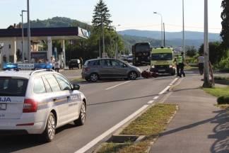Sudar motorista i automobila u Zagrebačkoj ulici u Požegi