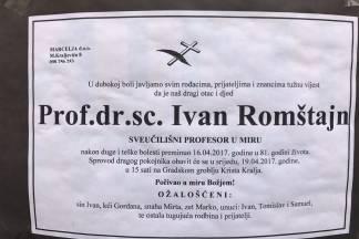 Sprovod prof. dr. sc. Ivana Romštajna održava se danas u 15:00 sati u Požegi