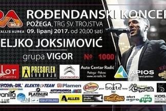 RVA vas poziva na koncert Željka Joksimovića i Grupe Vigor 9. lipnja na središnjem požeškom trgu