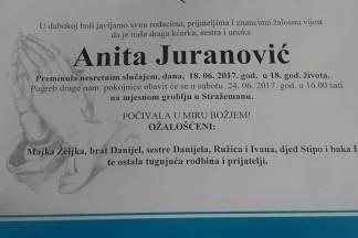 Pokop prerano preminule Anite je danas u 16:00 sati u Stražemanu