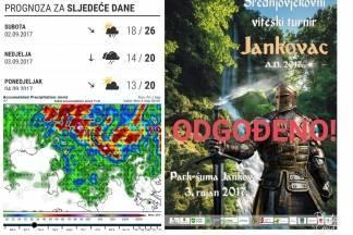 Zbog loših vremenskih neprilika odgođen Viteški turnir na Jankovcu