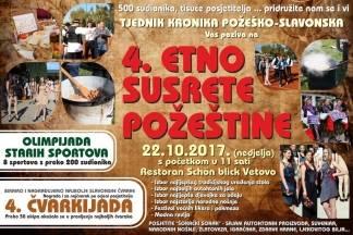 4. Etno susreti Požeštine i 4. Čvarkijada u nedjelju (22.10.) u Vetovu