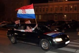 Slavlje na trgu nakon utakmice Hrvatska - Srbija