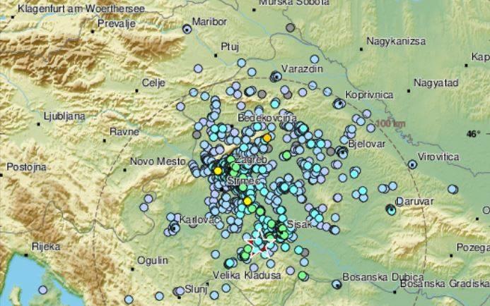 Serija potresa tijekom noći u središnjoj Hrvatskoj, najjači magnitude 3,7