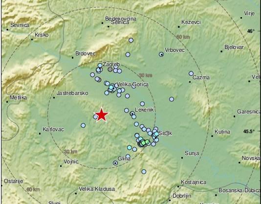Sinoć potres kod Zagreba, a kasnije još dva potresa na području HR