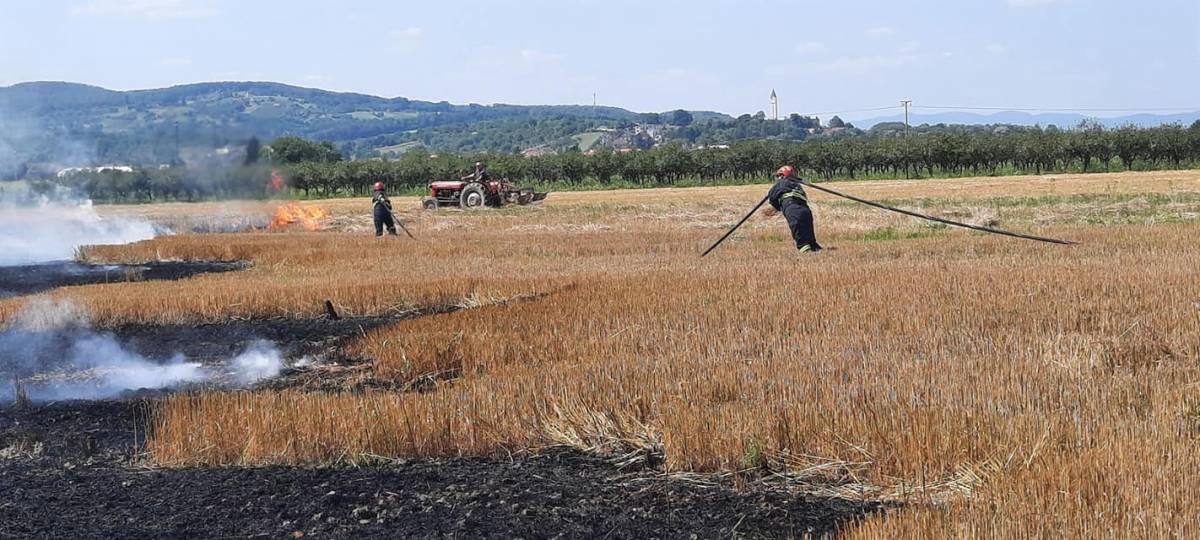 Dva požara na poljoprivrednim površinama u Pleternici i Novim Bešincima