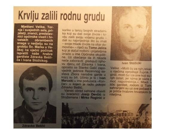 Krvlju zalili rodnu grudu: Godišnjica pogibije Z. Bešlića, I. Stožickog i S. Trohe