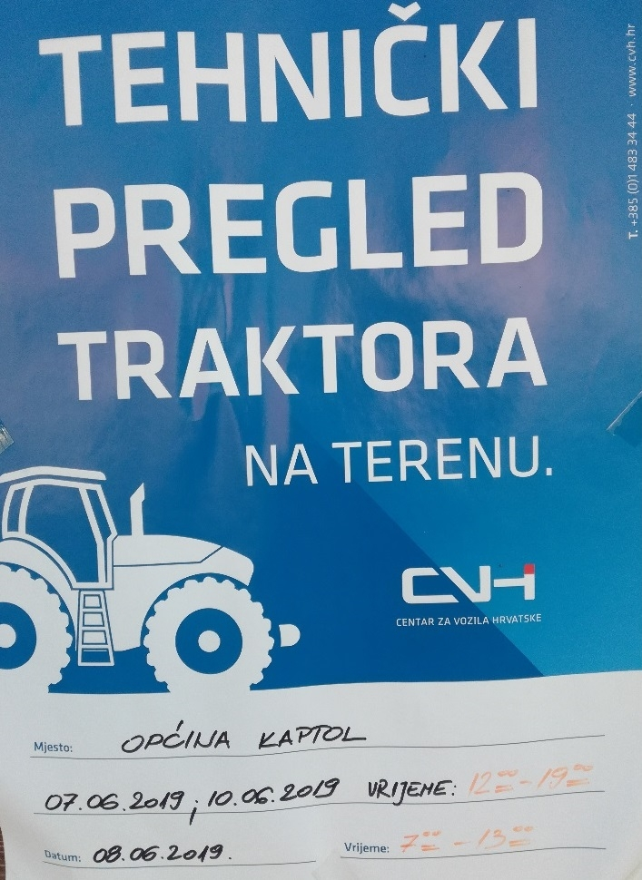 Raspored tehničkih pregleda traktora u Kaptolu