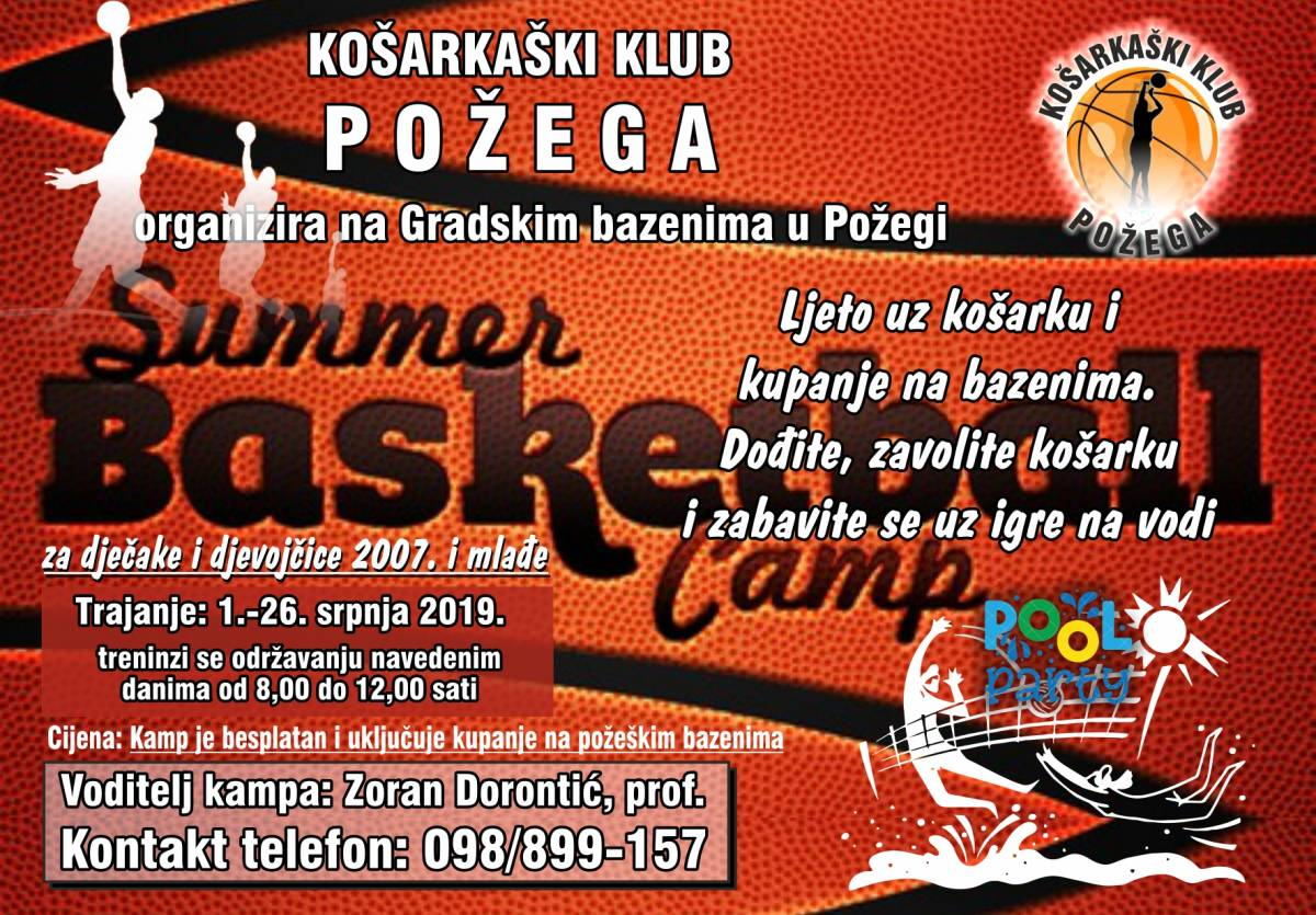 Košarkaški klub Požega i ovog ljeta organizira ljetni košarkaški Kamp