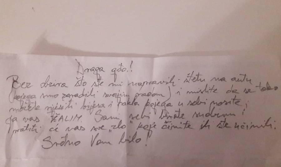 SLAVONSKI BROD - Ogorčena žena moli da joj se javi autor poruke ostavljene joj na vjetrobranskom staklu automobila...