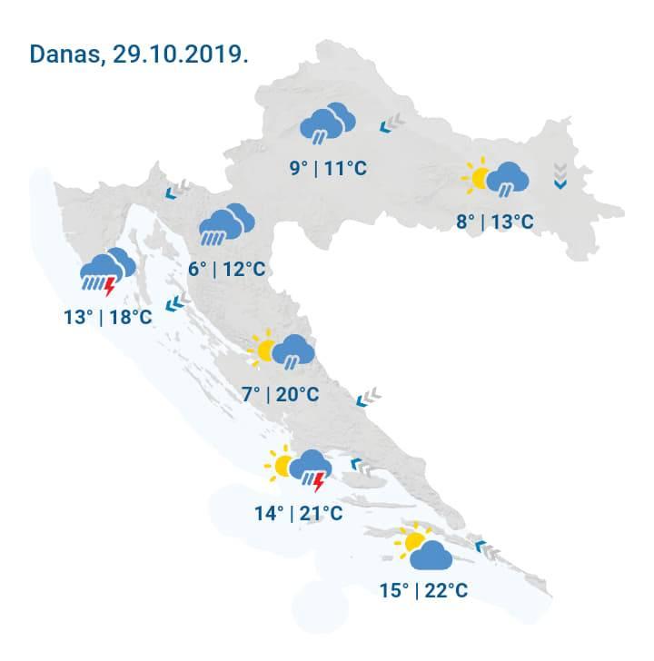 Vrijeme danas: Pretežno oblačno s povremenom kišom