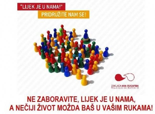 Zaklada Ana Rukavina poziva građane na akciju upisa u Hrvatski registar dobrovoljnih darivatelja krvotvornih matičnih stanica