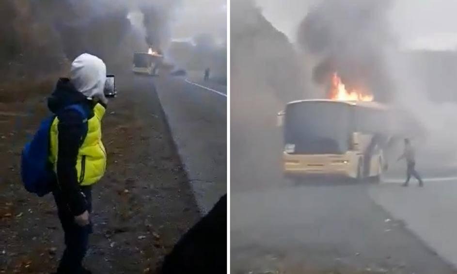 Nedaleko Kutjeva zapalio se autobus - učenici i profesori na vrijeme pobjegli od vatre