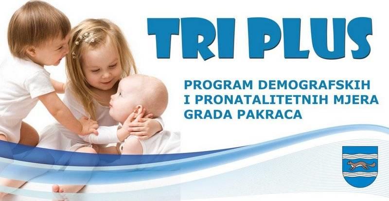 """Grad Pakrac nastavlja provoditi program demografskih i pronatalitetnih mjera """"TRI PLUS"""" u 2020. godini"""