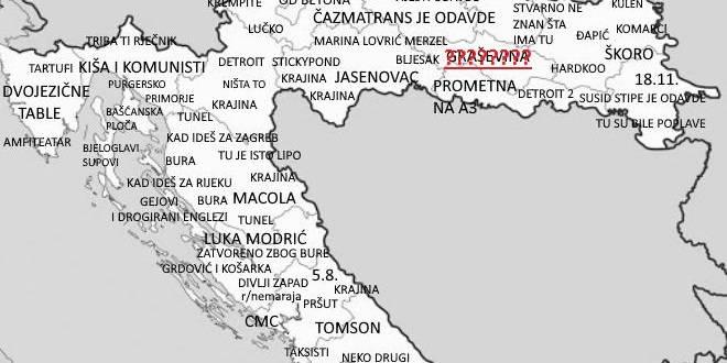 Pogledajte kakvo je ime jedan Dalmatinac dao Požeštini na svojoj karti Hrvatske