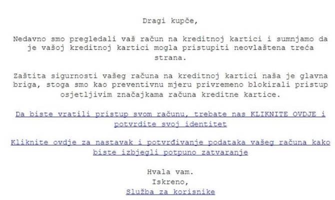 POLICIJA UPOZORAVA: ʺAko dobijete ovu poruku na e-mail, nipošto ne otvarajte linkove!ʺ