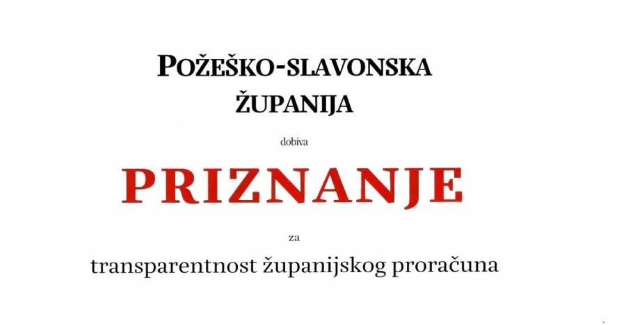 Požeško-slavonska županija dobila priznanje za transparentnost županijskog proračuna