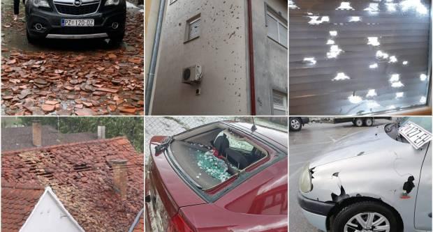 Požeština zbraja štetu: razbijeni autombili, uništeni krovovi, fasade, prozori i počupano drveće