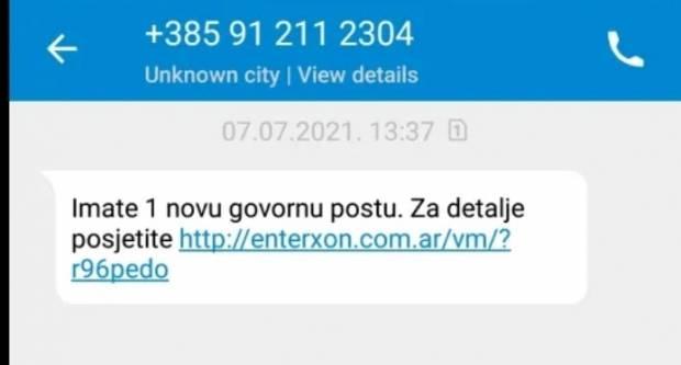 Ne otvarajte SMS koji vam kaže da imate novu govornu poštu