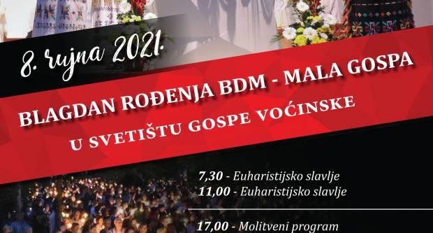 Raspored svetih misa u voćinskom Svetištu za blagdan Rođenja BDM - Malu Gospu.