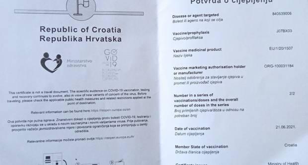 Ministar Beroš: Covid-potvrde vrijedit će godinu dana