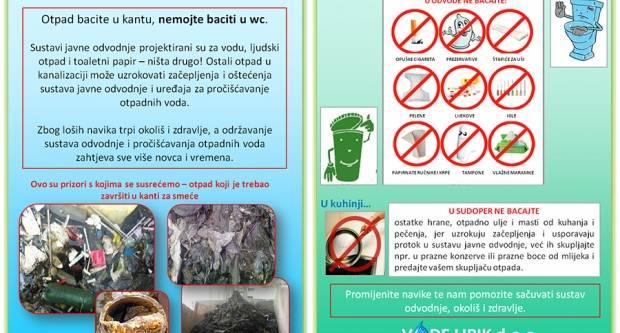 Nemojte koristiti kanalizaciju kao kantu za smeće.