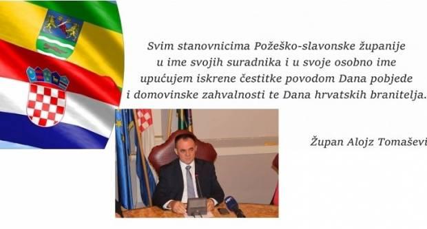 Čestitka župana Alojza Tomaševića za Dana pobjede i domovinske zahvalnosti i Dan hrvatskih branitelja