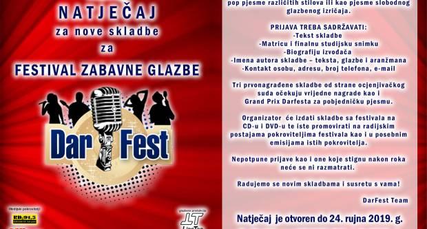 Otvoren natječaj za 14. Festival zabavne glazbe ʺDarFestʺ