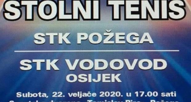 Danas od 17 sati dođite podržati stolnotenisače Požege protiv STK Vodovod iz Osijeka