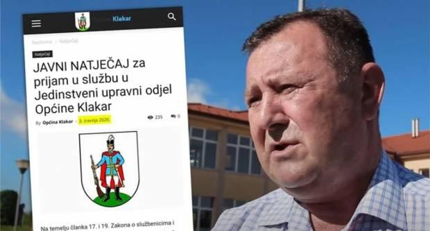 Načelnik općine Klakar u Brodsko-posavskoj županiji unatoč zabrani novog zapošljavanja raspisao natječaj za nova dva službenika