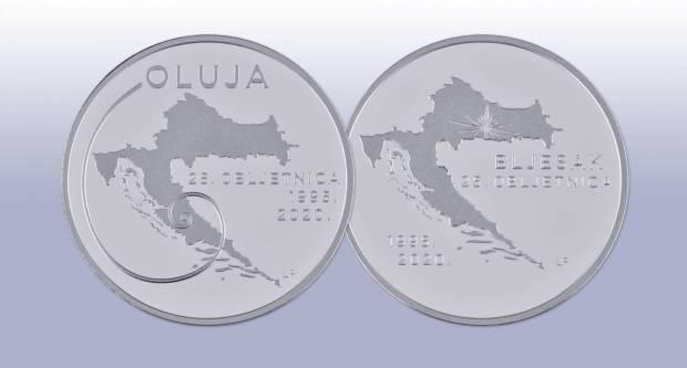 HNB izdala nove srebrnjake u povodu 25. obljetnice vojno-redarstvenih operacija ʺBljesakʺ i ʺOlujaʺ